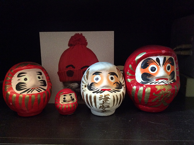 Daruma (Bodhidharma) spot the interloper.